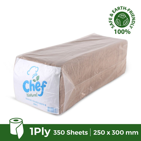 Chef Folded Table Napkin (Brown) Natural Value 350 sheets / 1ply