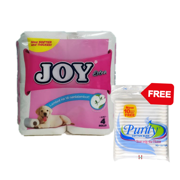 Promo: Joy Extra 4 Rolls + Free Purity Cotton Buds 90s