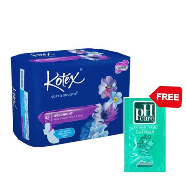 Promo: Kotex Soft and Smooth Overnight 4pcs + pH Care 5mL