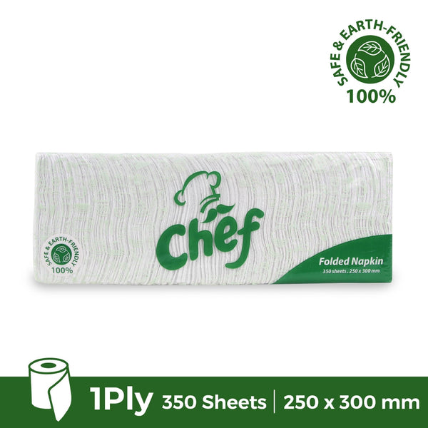 Chef Folded White Table Napkin 350 sheets / 1ply