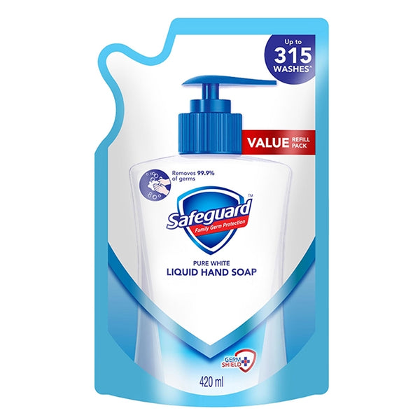 Safeguard Liquid Hand Soap White 420ml - Refill Pack