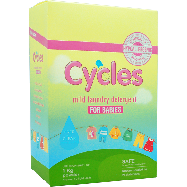 Cycles Mild Laundry Detergent for Babies 1kg Powder