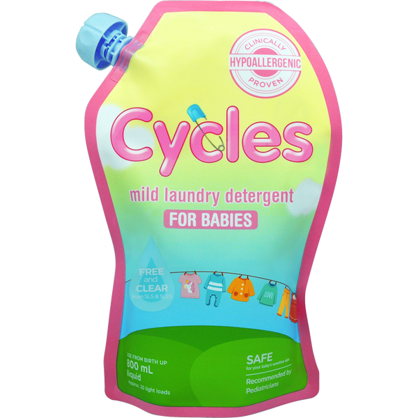 Cycles Mild Laundry Detergent for Babies 800ml Liquid
