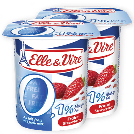Elle & Vire Strawberry Dairy Dessert 0.1% fat 125g x2