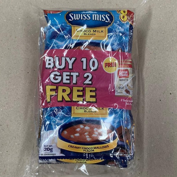 Swiss Miss Hot Cocoa x 10 sachets + 2 FREE Great Taste White Sachets