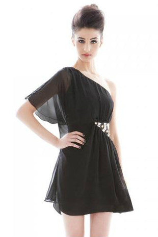 CD16 - Women Solid Off the Shoulder Sleeveless Black Dress