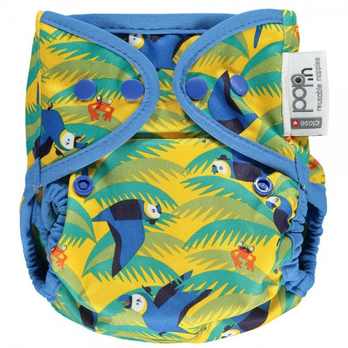 Pop-in Single Printed Reusable Popper Nappy +bamboo