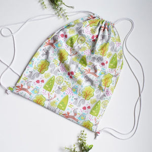 Green Woodland Drawstring Bag
