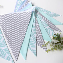 Load image into Gallery viewer, Mint Herringbone and Grey Chevron Bunting Large