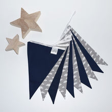 Load image into Gallery viewer, Grey Cloud and Navy Bunting Large