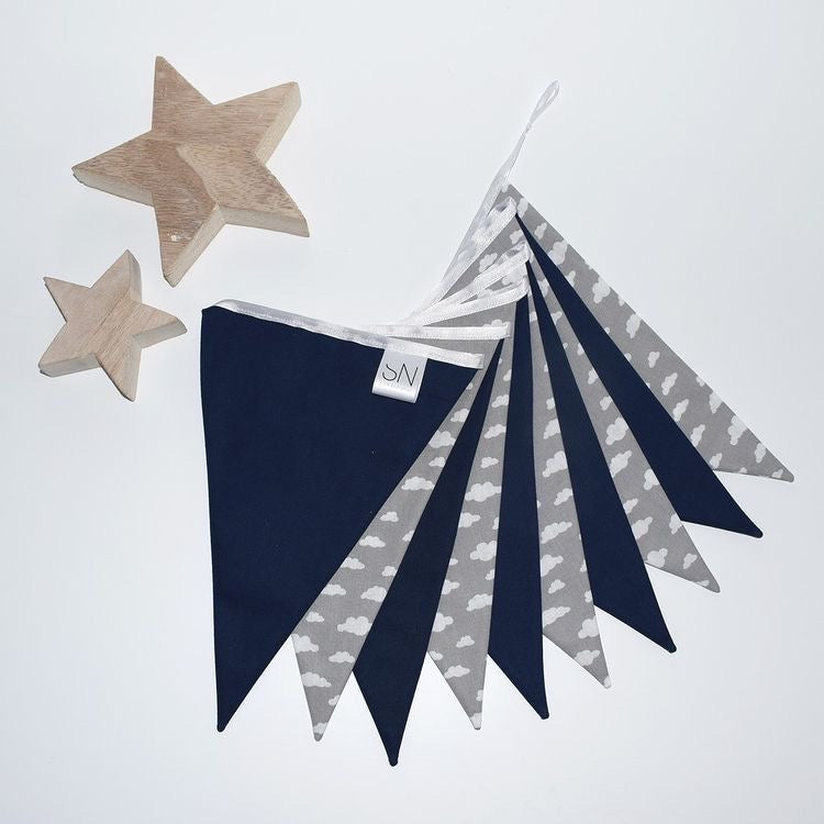 Grey Cloud and Navy Bunting Large