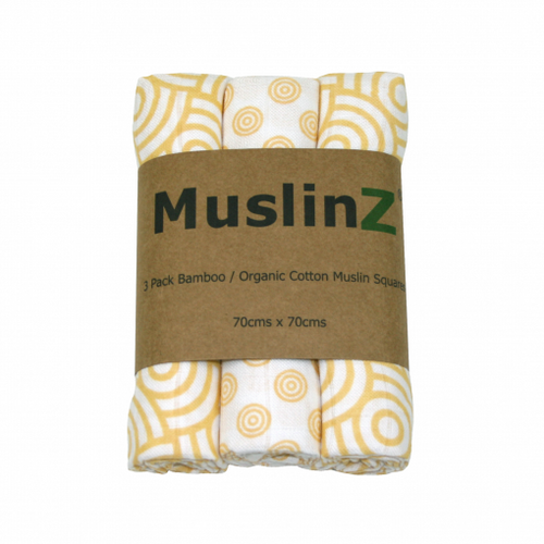 Three Pack Bamboo/Organic Cotton Muslin Squares: Gold Print