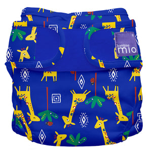 bambino mio reusable nappy cover blue with giraffe