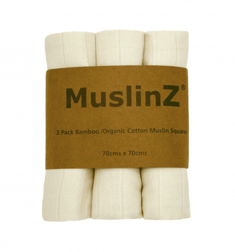 Three Pack Bamboo/Organic Cotton Muslin Squares: Unbleached