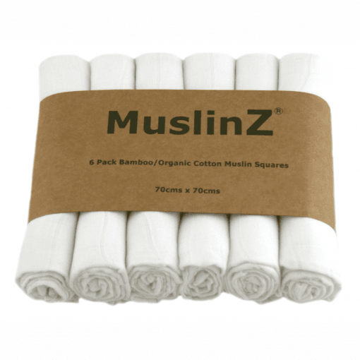 Six Pack Bamboo/Organic Cotton Muslin Squares: White