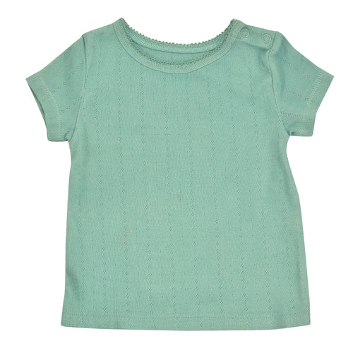 Pointelle T-Shirt | Turquoise