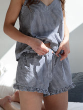 Load image into Gallery viewer, Women's Frilly Short and Cami Set | Gingham