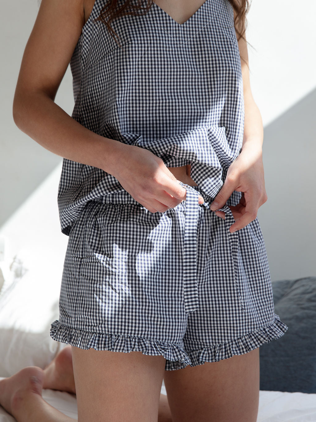 Women's Frilly Short and Cami Set | Gingham