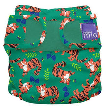Load image into Gallery viewer, bambino mio reusable nappy cover green with tigers