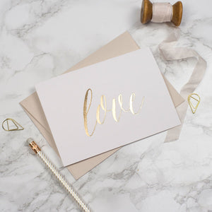 Gold Foil 'Love' Card