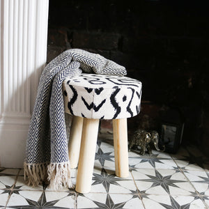 Aztec Print Small Wood Stool