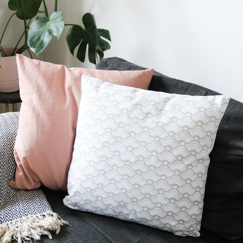 Geometric Print Cushion in White & Grey