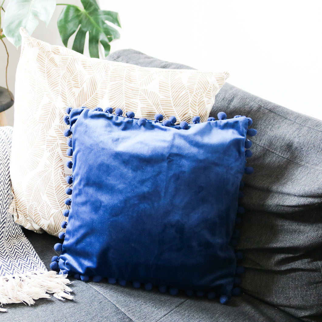 Blue Velvet Pom Pom Cushion Cover