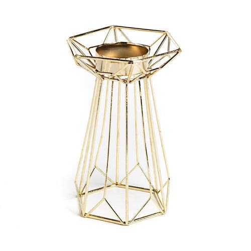 Geometric Gold Metal Tea Light Holder
