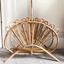 Load image into Gallery viewer, Vintage 1970s Sunray Bamboo Magazine Rack/Storage Basket