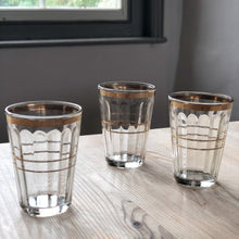 Load image into Gallery viewer, Vintage Gold Detail Shot Glasses (set of 3)