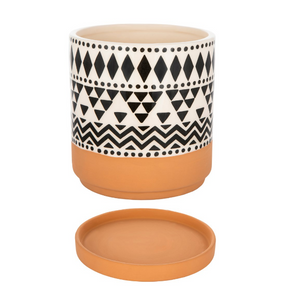 Terracotta & Black/White Geometric Planter