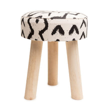 Load image into Gallery viewer, Aztec Print Small Wood Stool