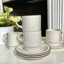 Load image into Gallery viewer, Vintage Tea Cup Set - White Speckle Set of Four with Saucers