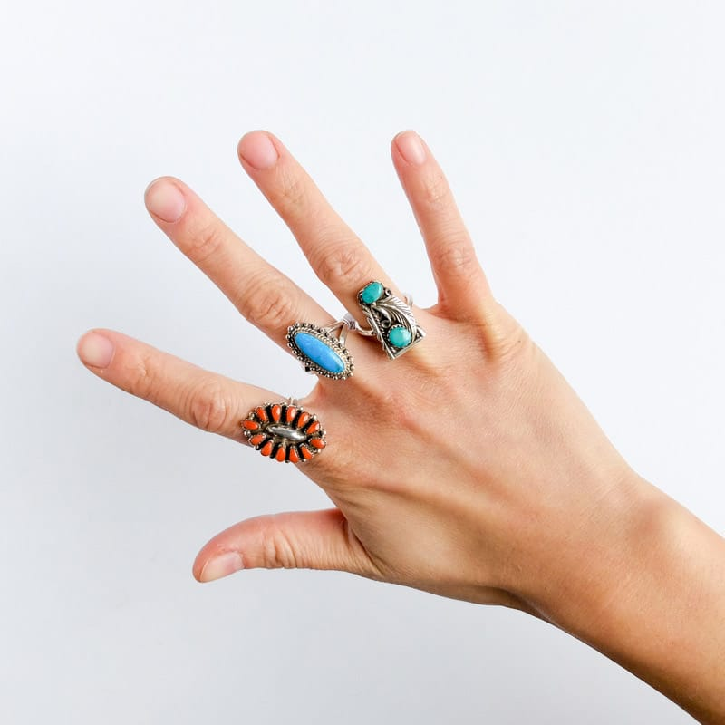 Silver rings with turquoise and coral