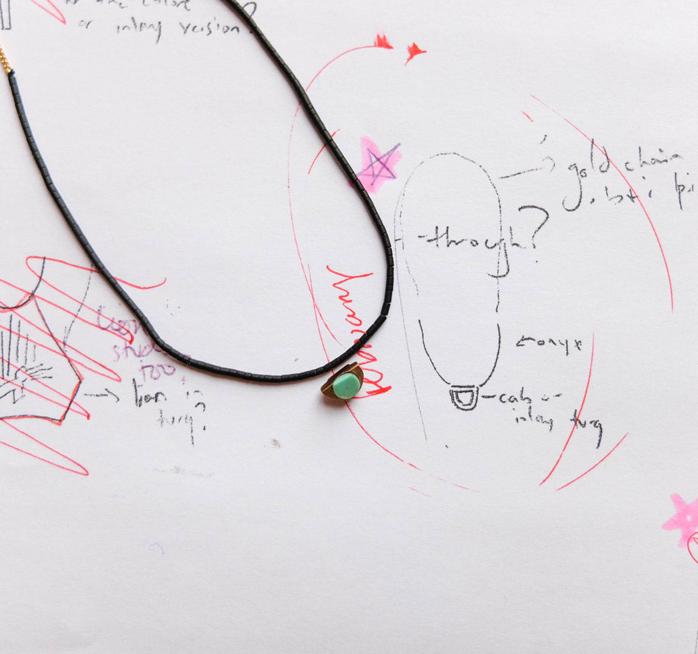 Inti Necklace sketch and prototype
