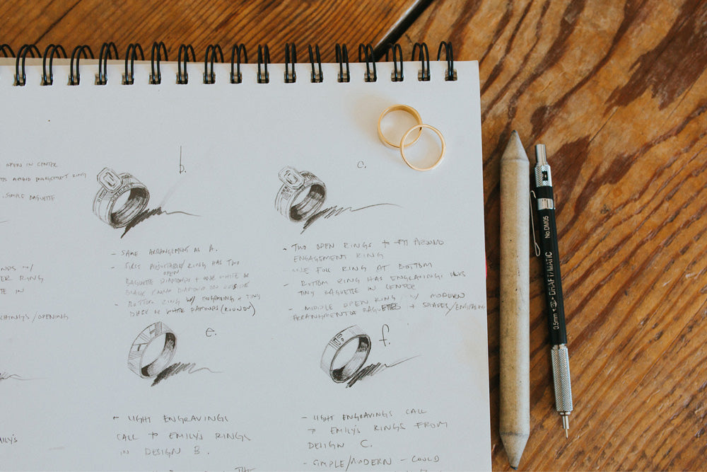 Jewelry sketches in Betsy Cross' notebook