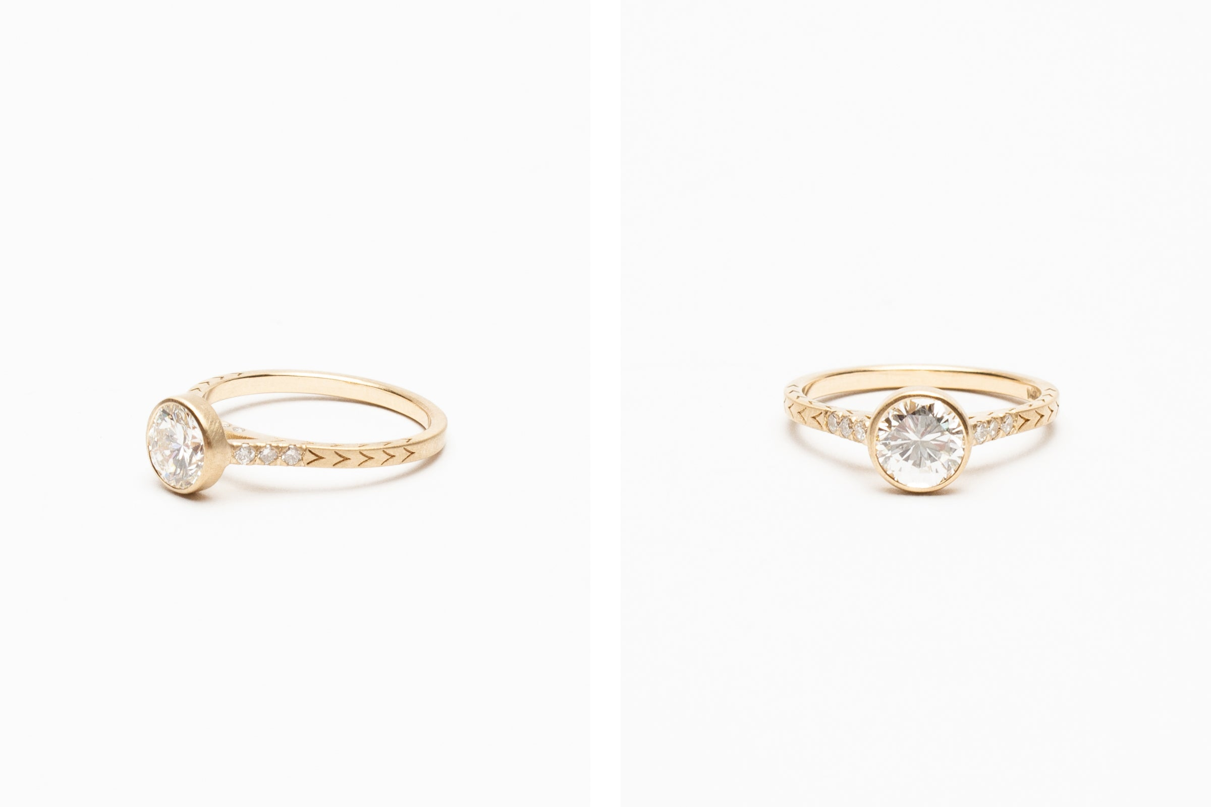 Betsy & Iya Custom ring with round diamonds and engravings