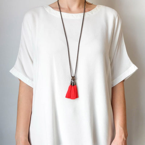 BOET Silk Triad Necklace in Bright Red