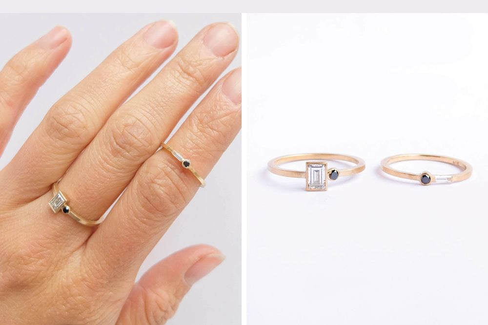 Delicate modern geometric diamond rings with white and black stones by Portland jewelry company betsy & iya