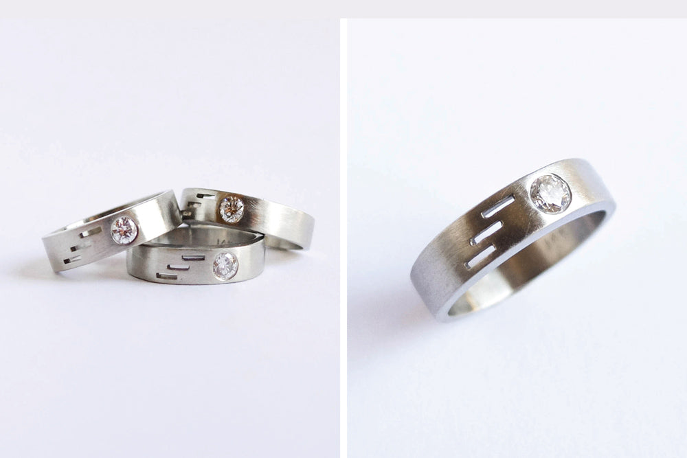 Three white gold rings with modern cut throughs and reused heirloom diamonds by Portland jeweler betsy & iya