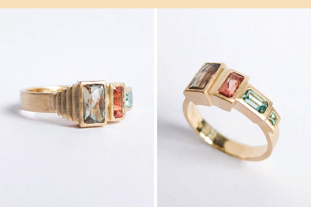 Custom anniversary cocktail ring with colorful stones and stair stepping design