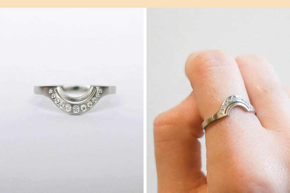 Simple custom anniversary ring with curved shape and cut through by Portland jeweler betsy & iya