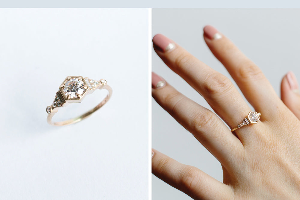 Custom diamond engagement ring by Portland designer betsy & iya