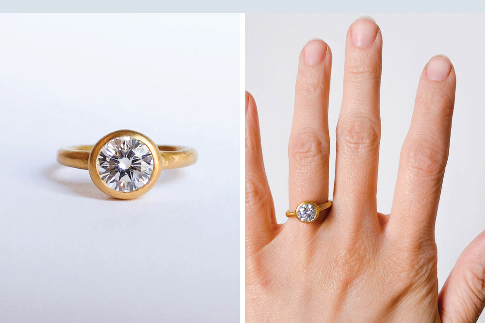Custom designed 22k gold simple engagement ring by Portland jeweler betsy & iya