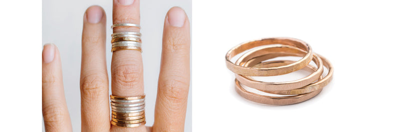 betsy & iya faceted ring stacks in gold fill and sterling silver
