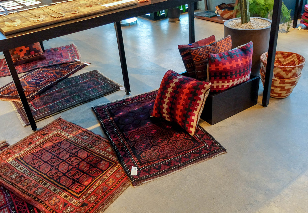 Handwoven rugs and pillows