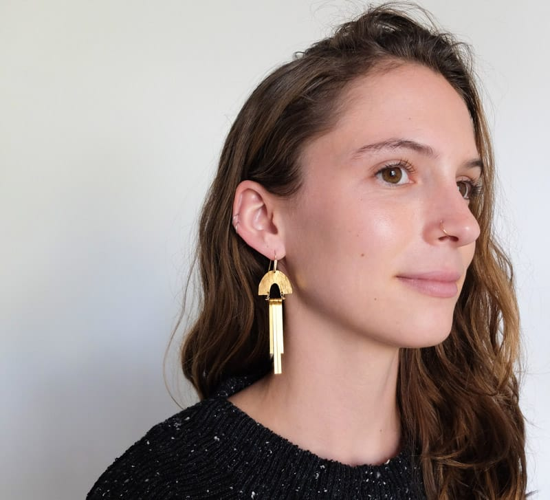Demimonde handcrafted brass Solis Earrings