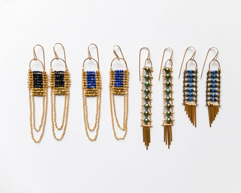 4 pairs of handcrafted Demimonde brass beaded earrings