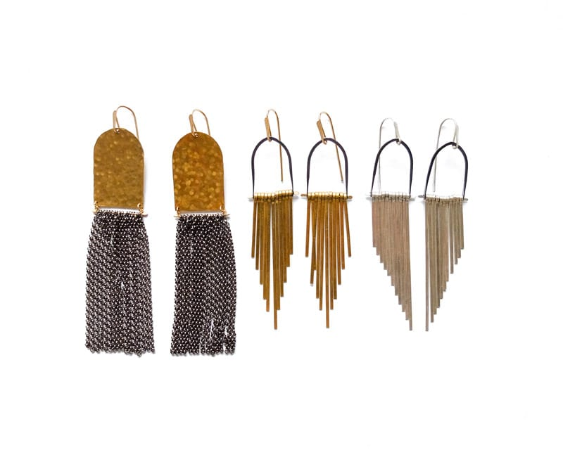 Demimonde handcrafted brass tassel earrings