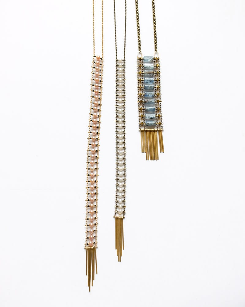 3 Demimonde handcrafted brass beaded necklaces with tassels